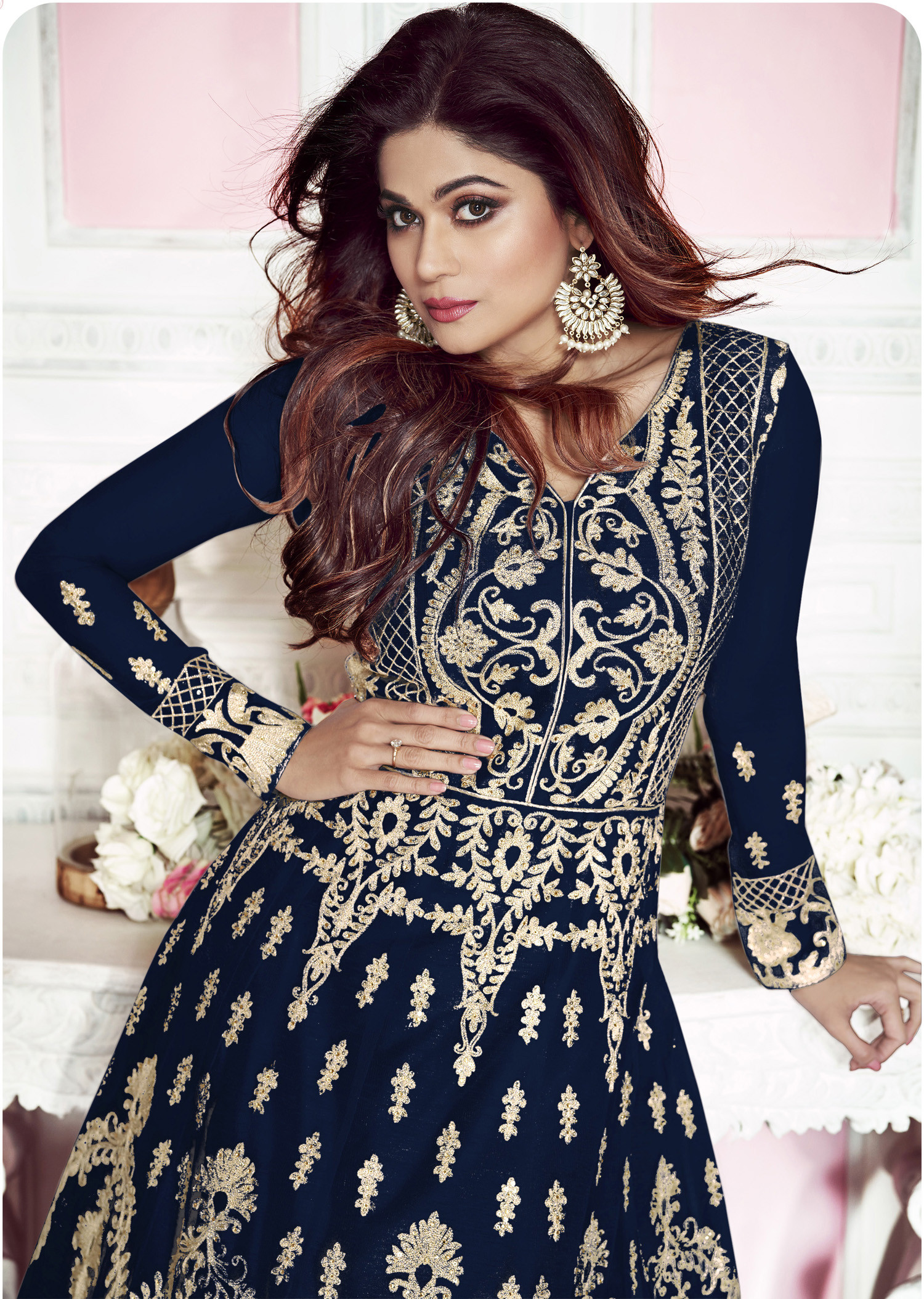 New Navy Blue Color Embroidery Work Anarkali Suit