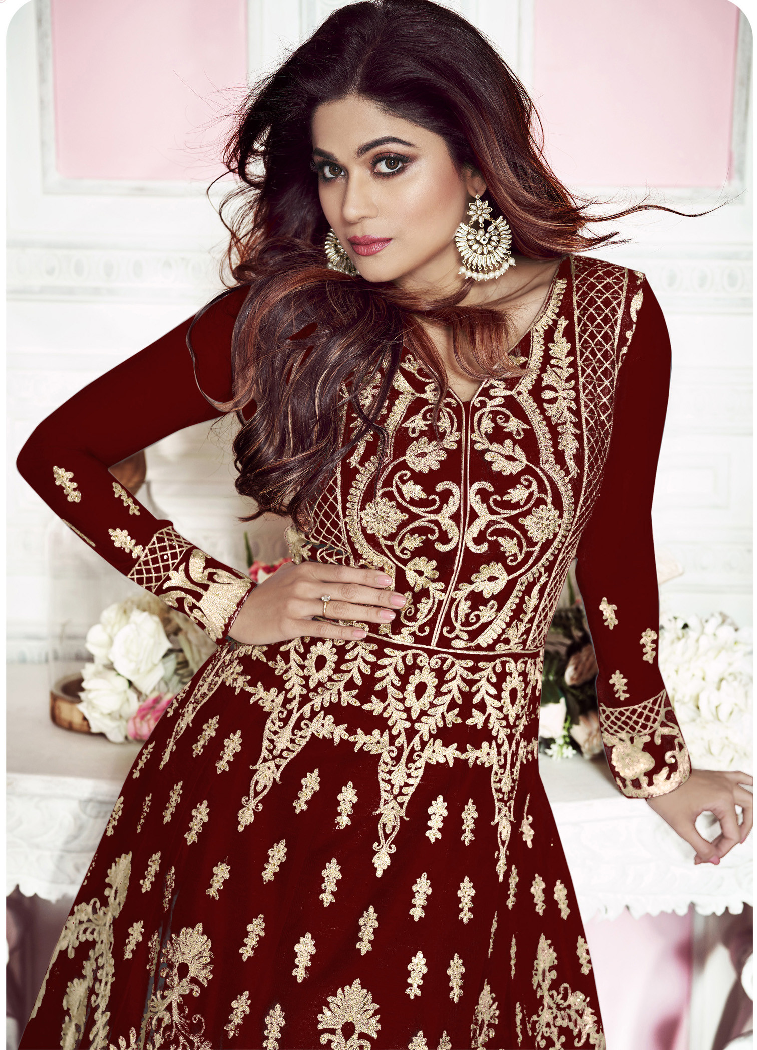 Stylish Maroon Color Party Wear Embroidery Work Anarkali Suit