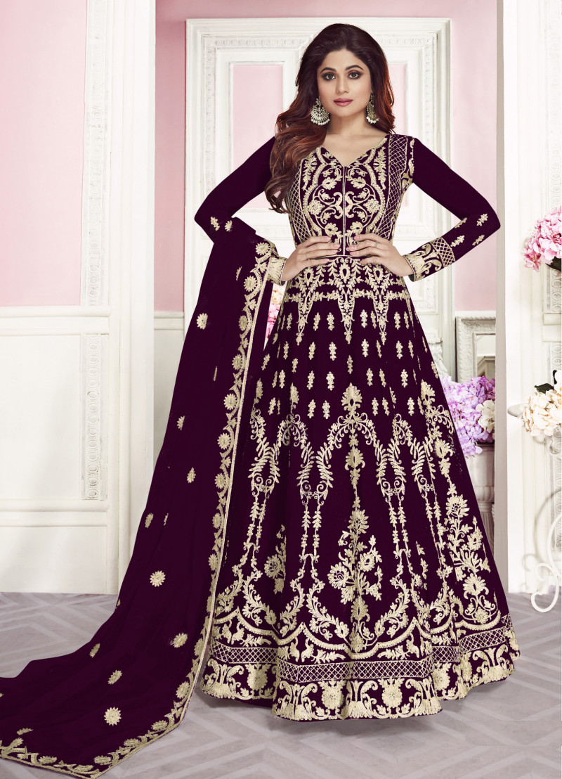 Latest Wine Color Party Wear Embroidery Work  Anarkali Suit