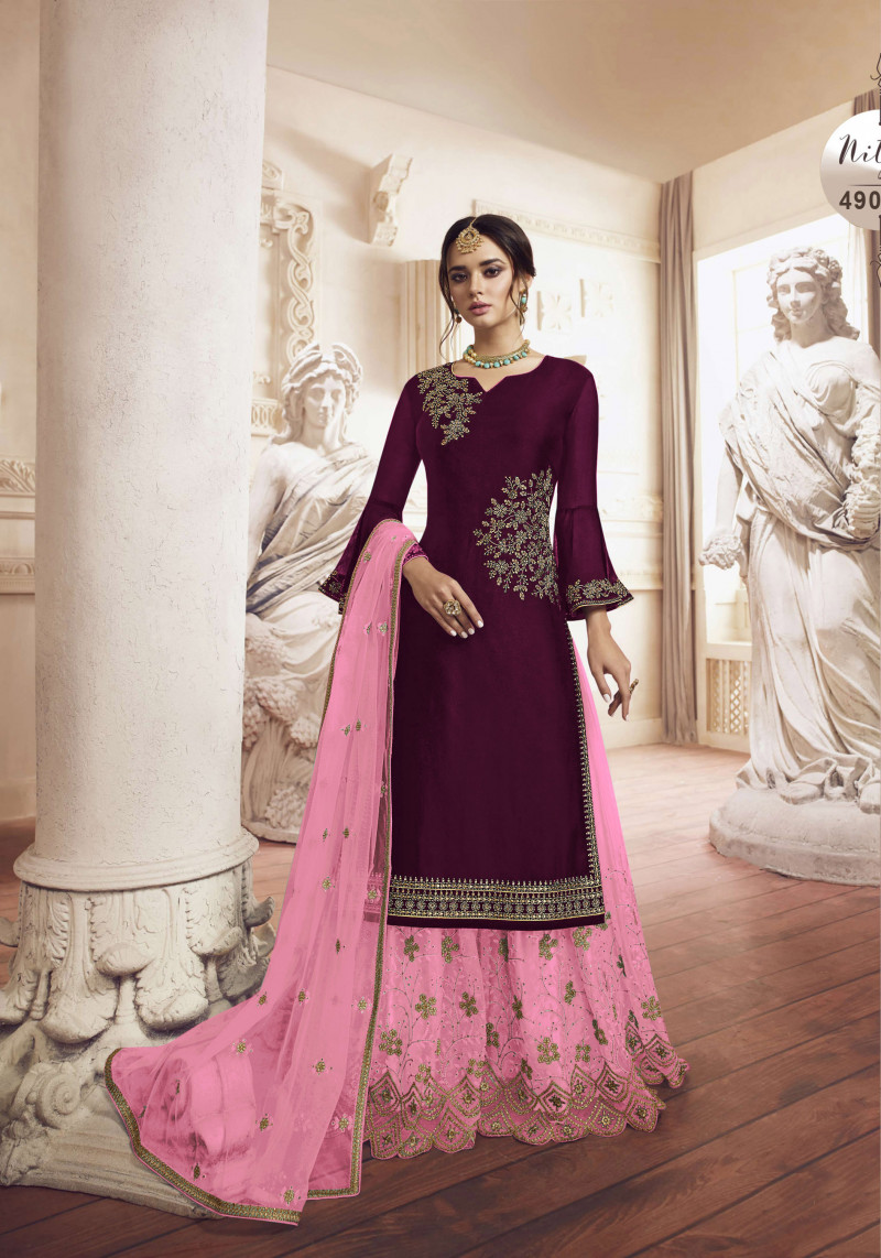 New Presenting Wine Color Embroidery Work Plazzo suit
