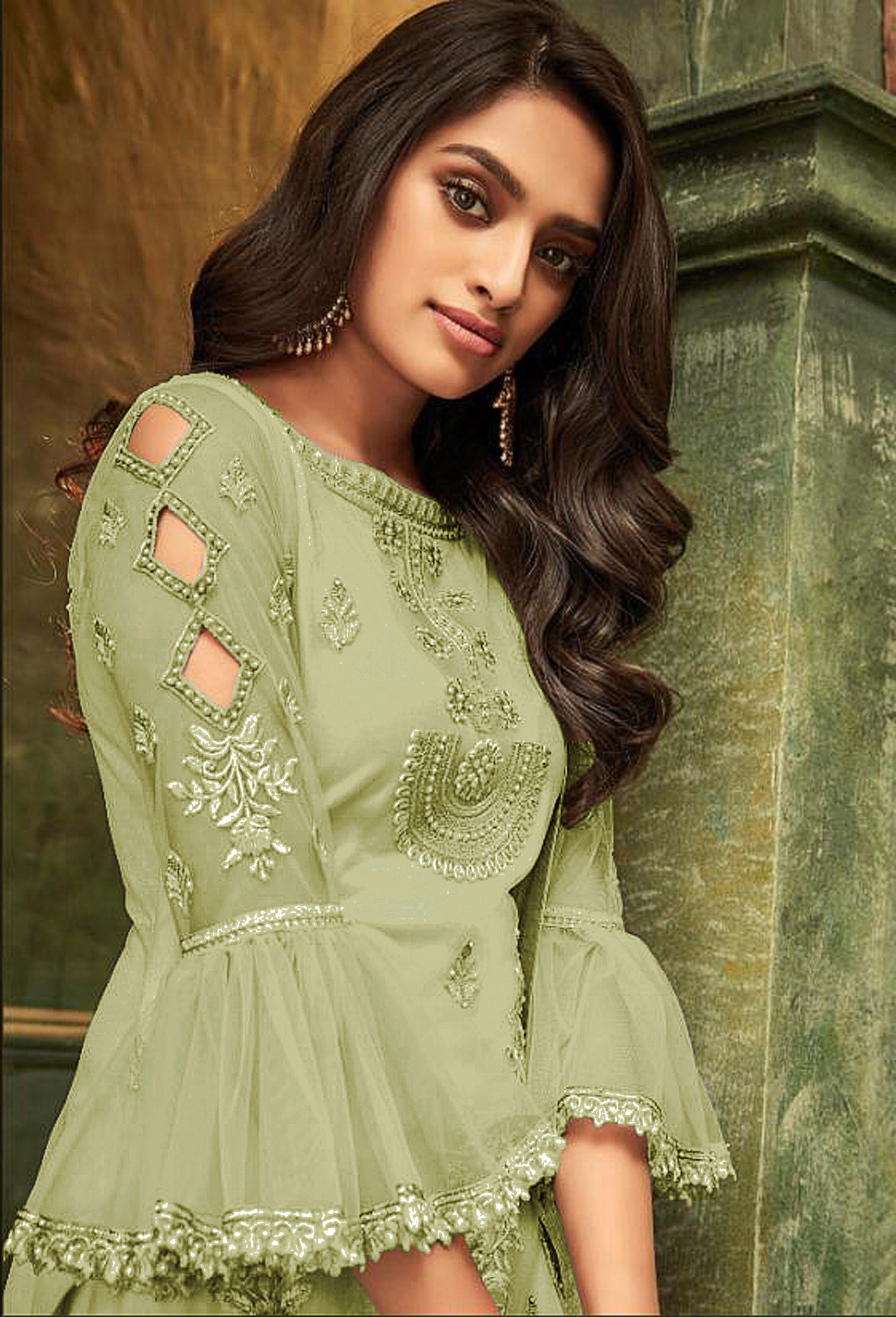 New Amazing Pista Color Party Wear Embroidery Salwar Suit