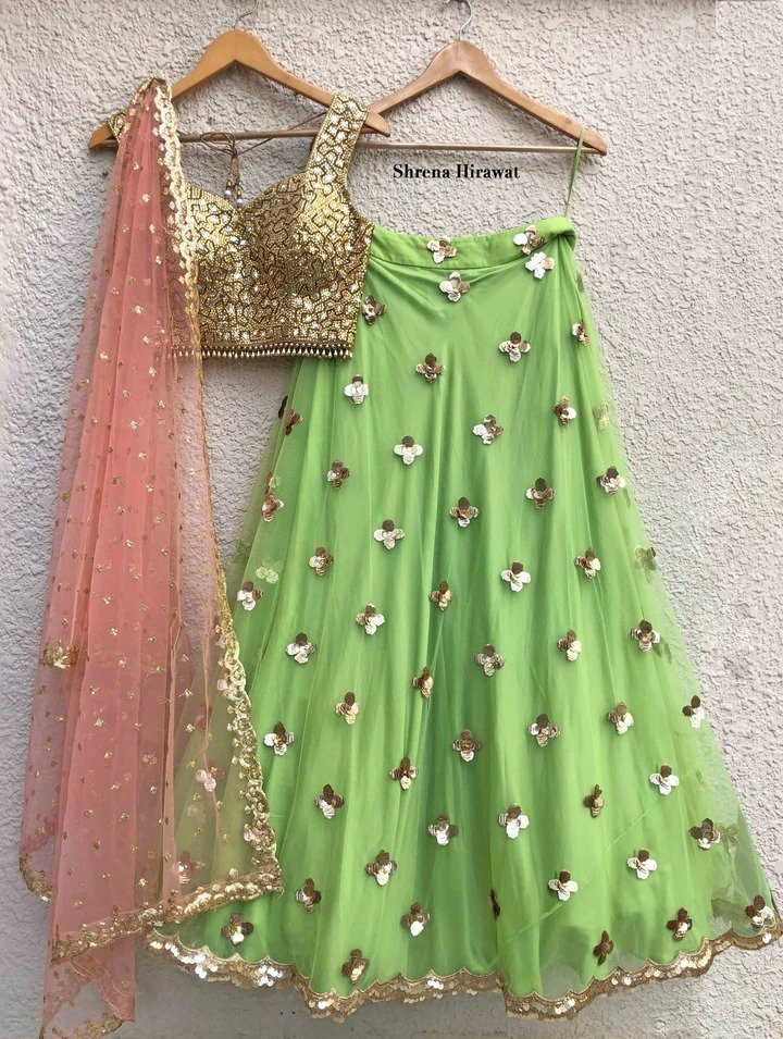 Latest Pista Color Party Wear Sequence Work Lehenga Choli 2020