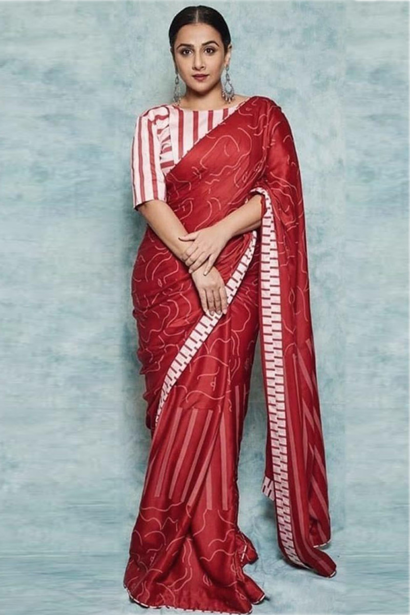 Bollywood Vidhya Balan Red Color Printed Festive Wear Saree