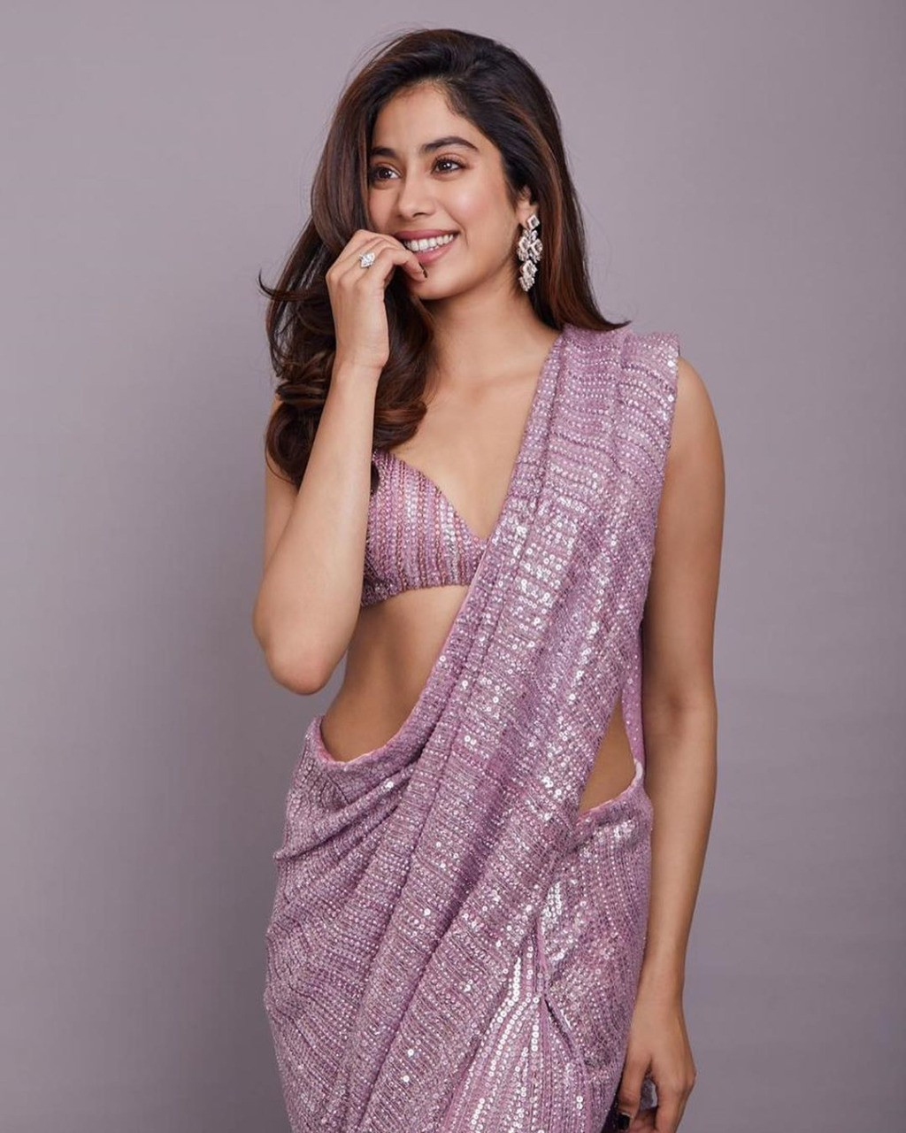 Bollywood Sequence Work Janhvi Kapoor Purple Color Party Wear Saree |  Ethnicroop