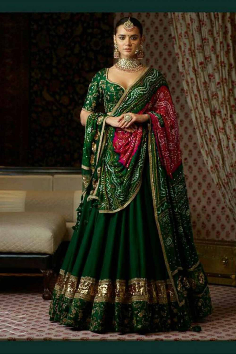 New Arrival Sabya  Sachi Dark Green Lehenga Choli