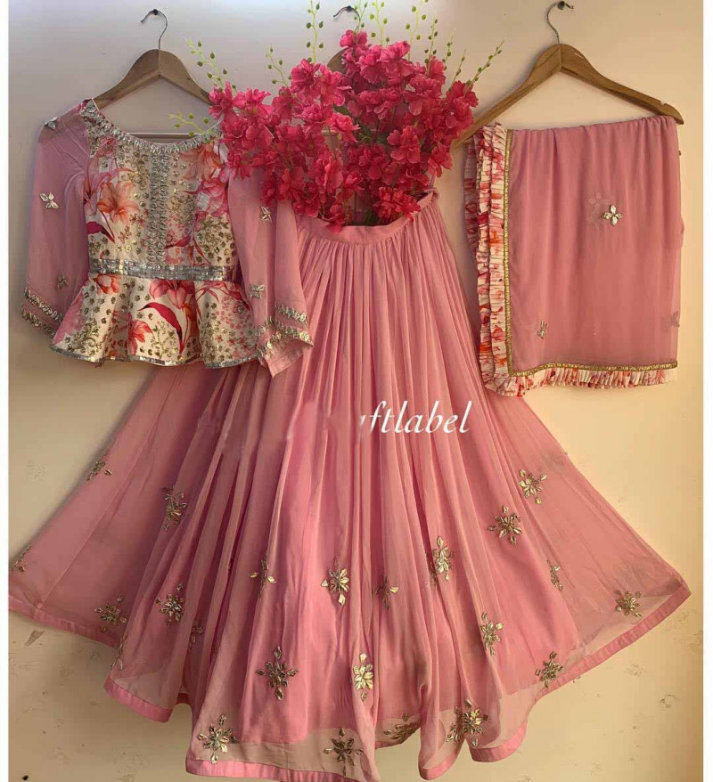 Stylish Pink & Cream Color Embroidery  Lehenga Choli