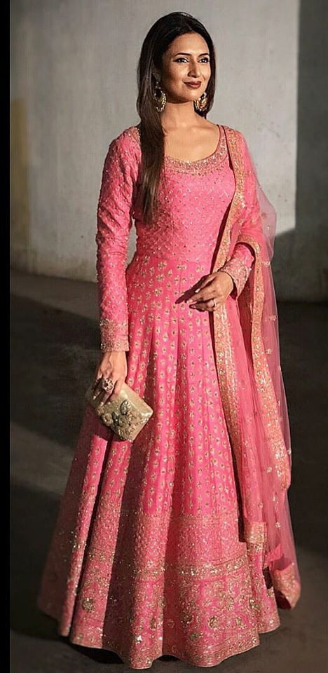 Pink Color Designer Silk Long Salwar Suit