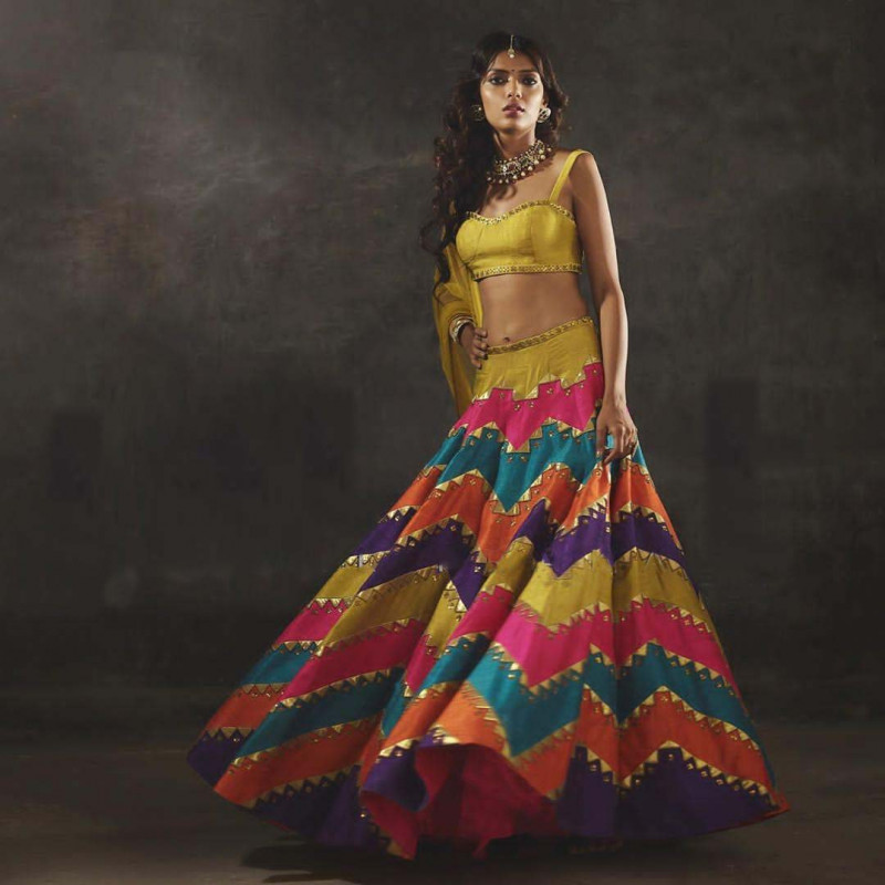 Latest Multi Color Wedding Wear Printed Lehenga Choli