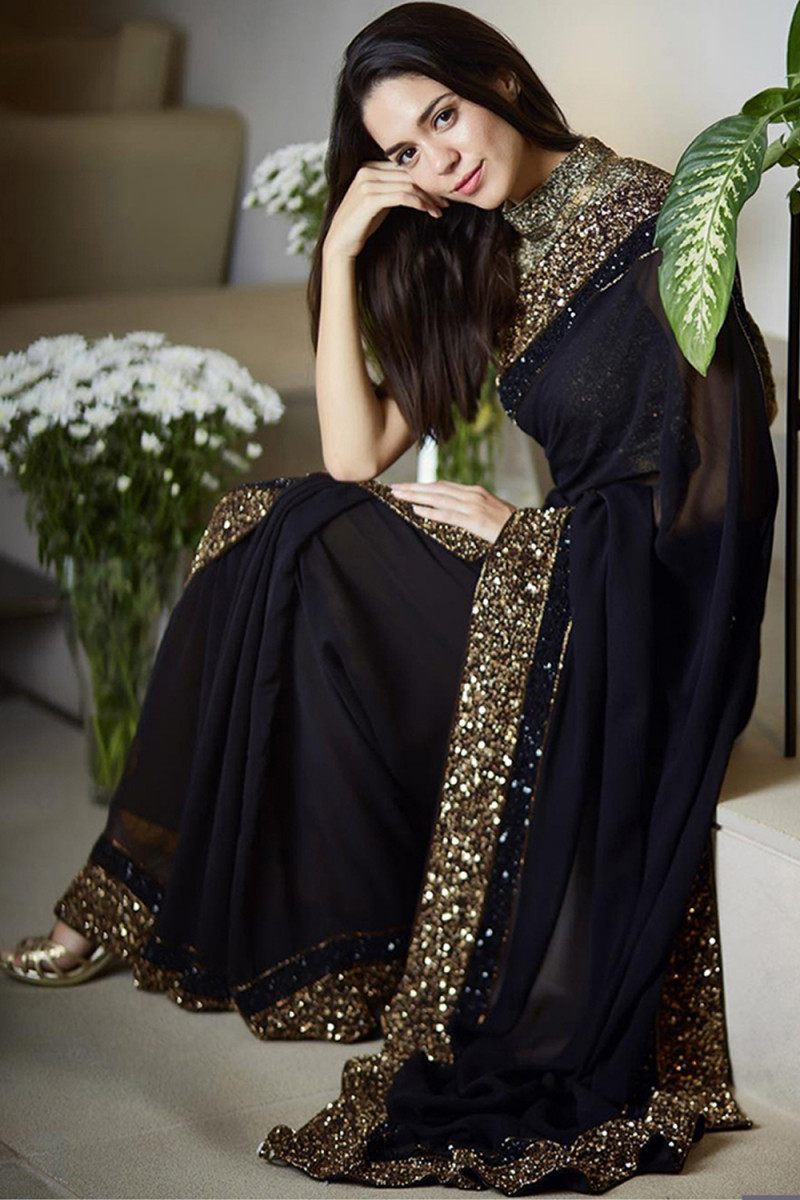 Designer Black Color Georgette Embroidery Work Saree