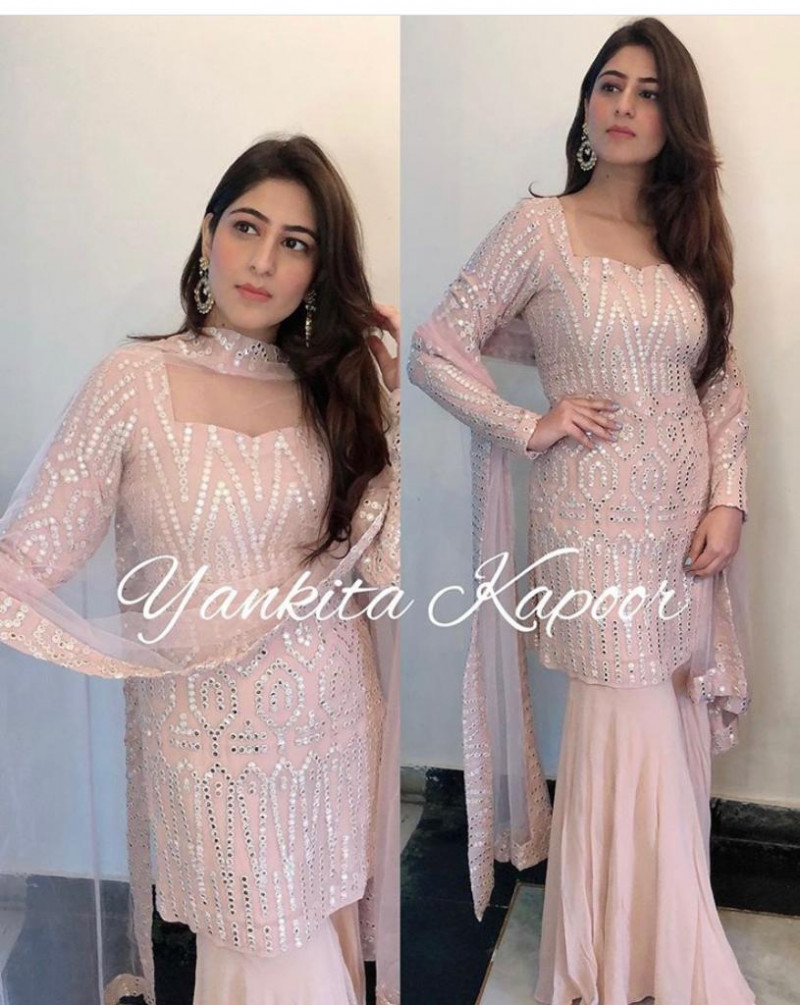Yankita Kapoor Baby Pink Color Party Wear Top With Plazzo