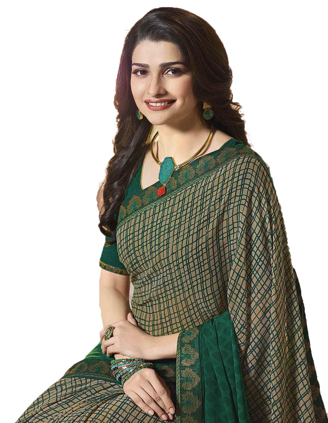 Dark Green Color Printed Party Wear Saree