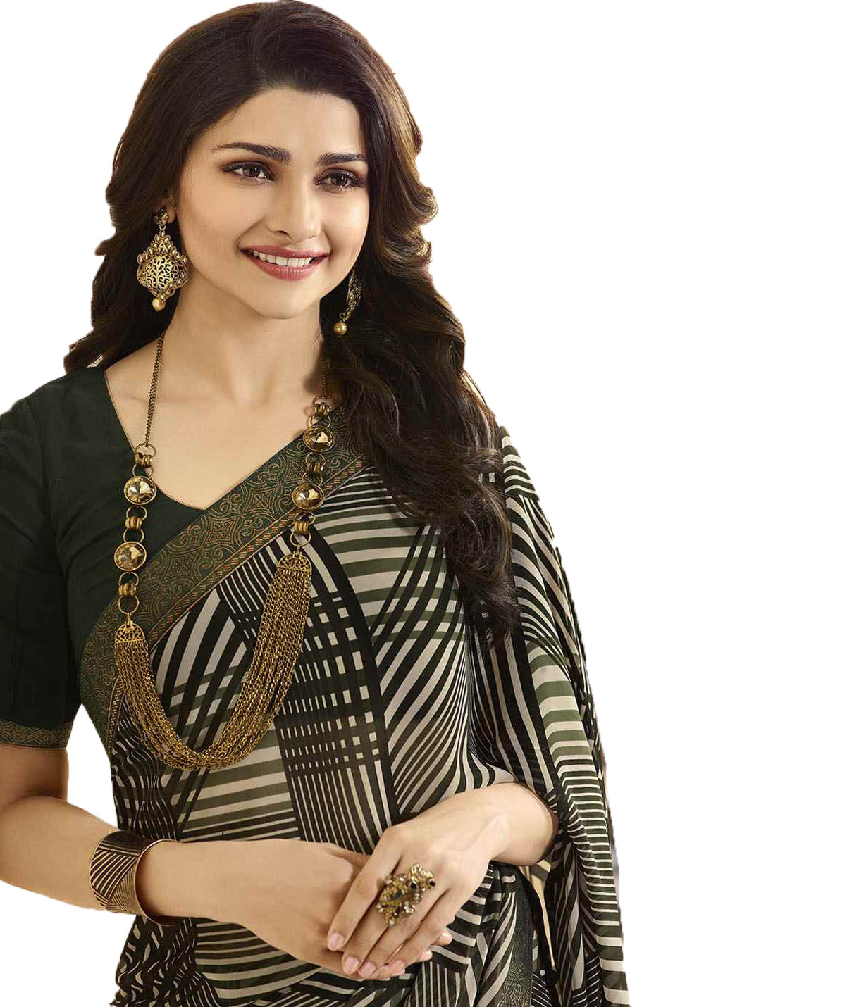 Prachi Desai Black And White Color Festive Wear Printed Saree