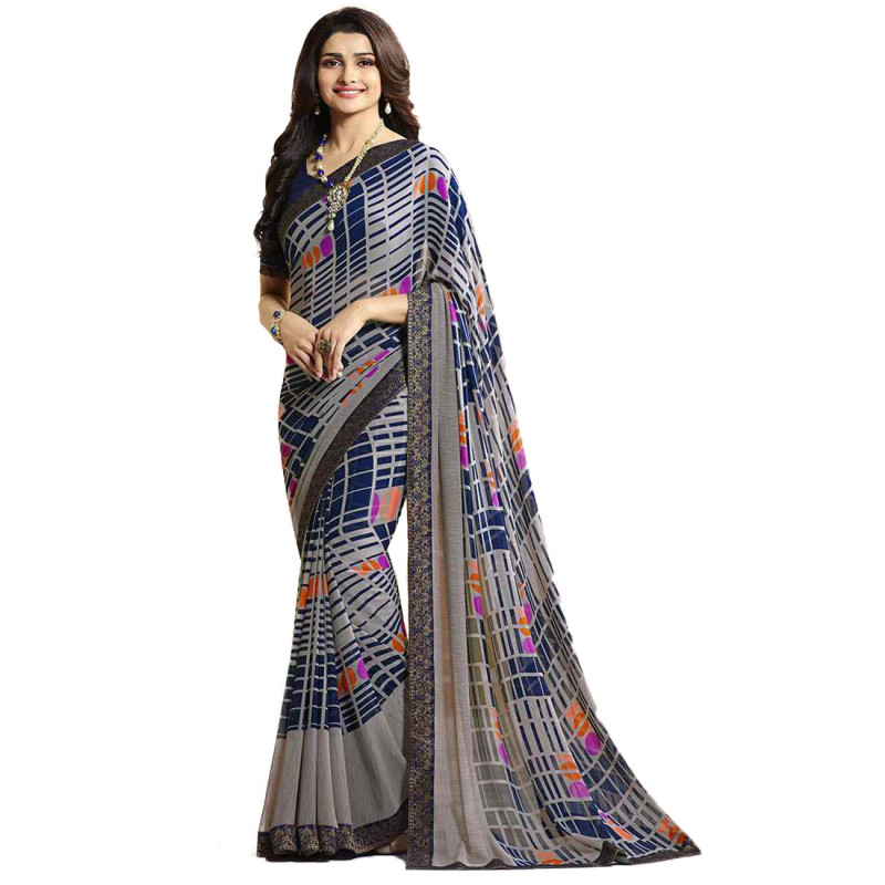 Beautiful Printed Blue Color Georgette Saree