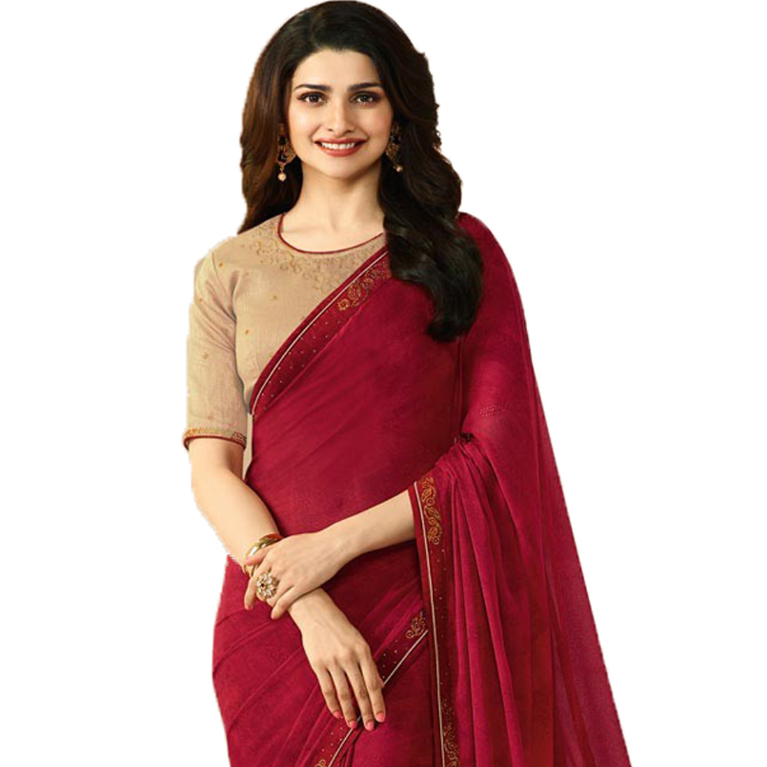 Maroon Color Georgette Stone Work Saree