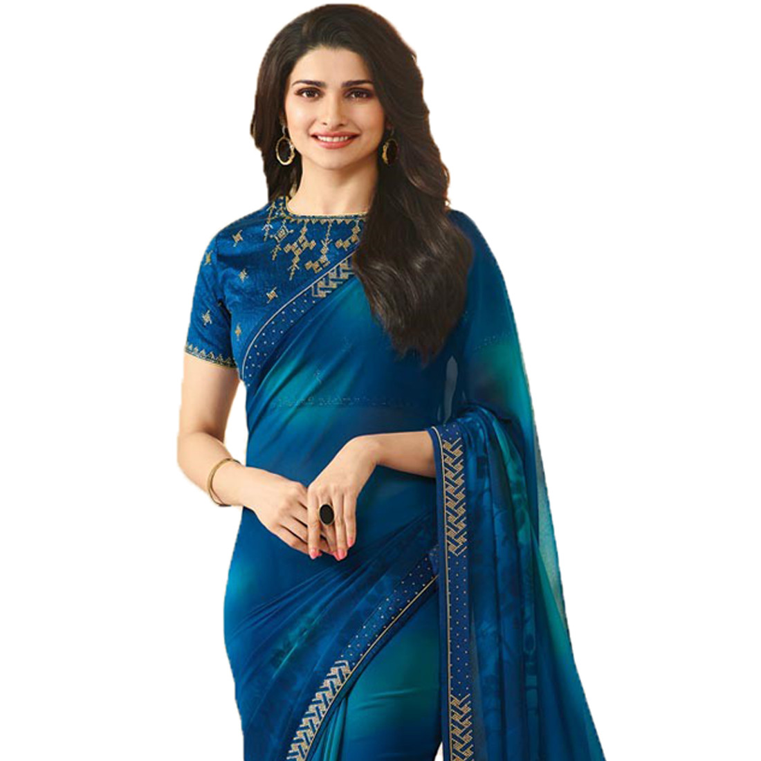 Royal Blue Color Casual Georgette Saree