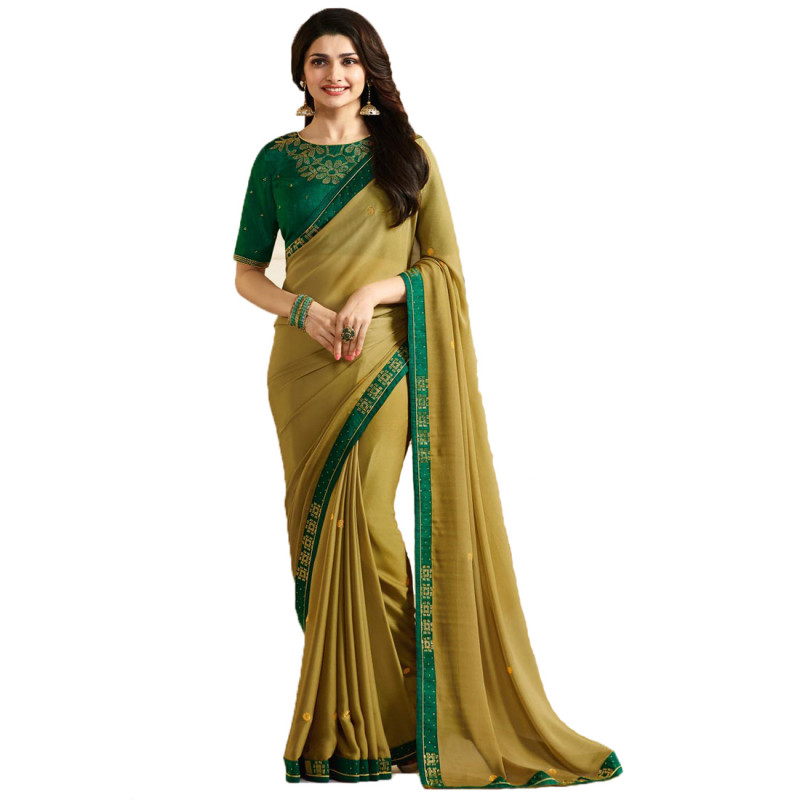 Yellow Color Prachi Desai Party Wear Saree