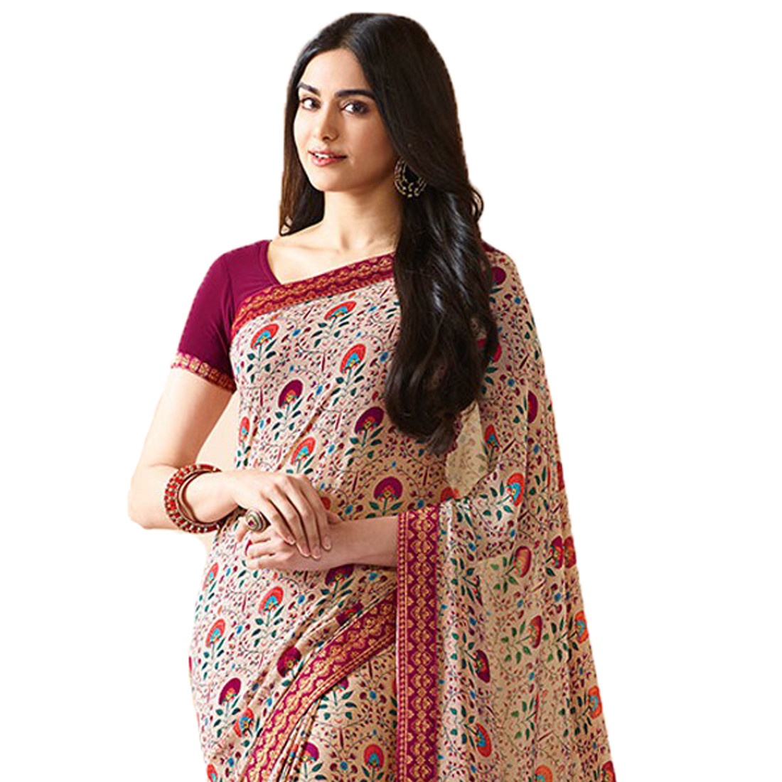 Light Pink Color Party Wear Printed Saree