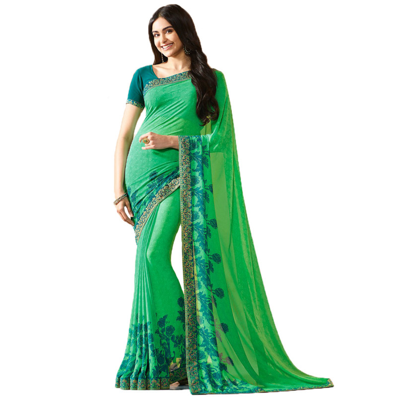 Party Wear Printed Green Color Georgette Saree