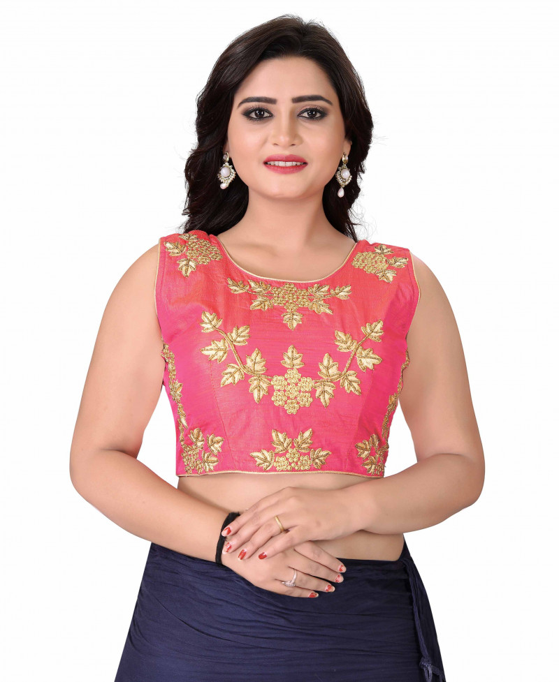 Women Peach Color Roun Neck Stitched Blouse