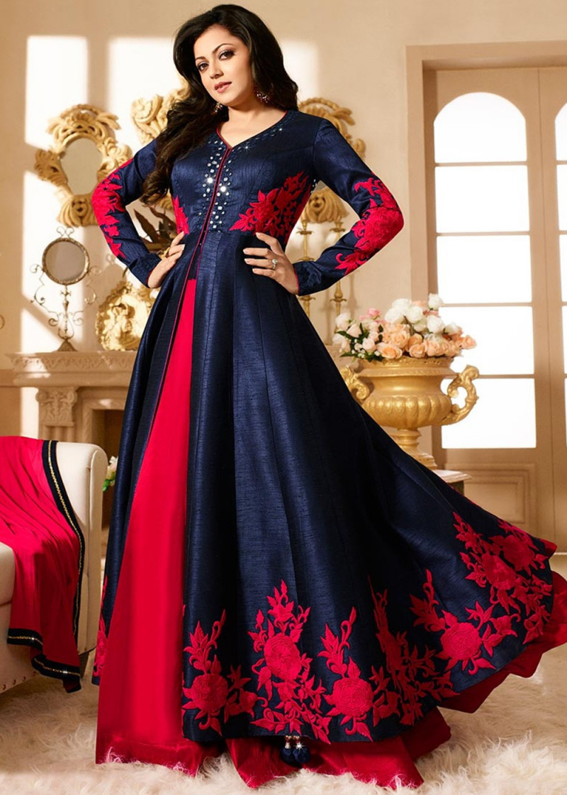 Drashti Dhami Mirror Work Banglory Silk Long Style Dress