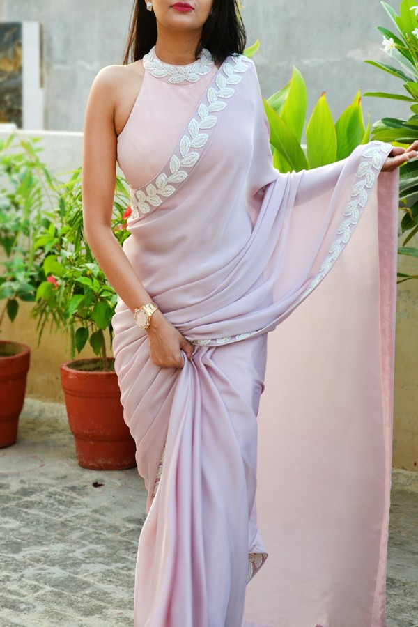 Decent Light Peach Color Latest Saree