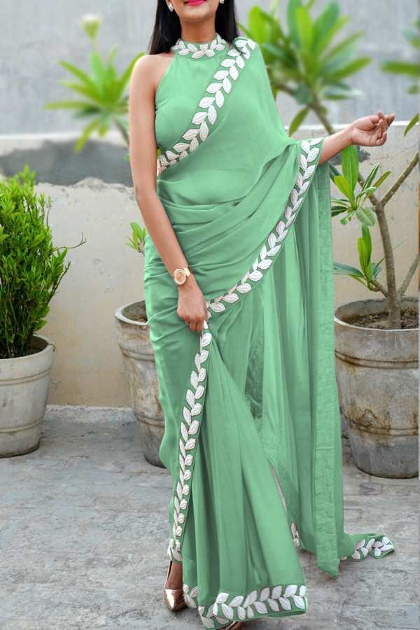 Trendy Green Color Saree with White Pattle Embroidery