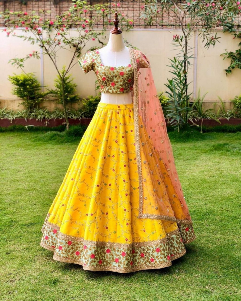 Decent Yellow Color Wedding Wear Lehenga Choli