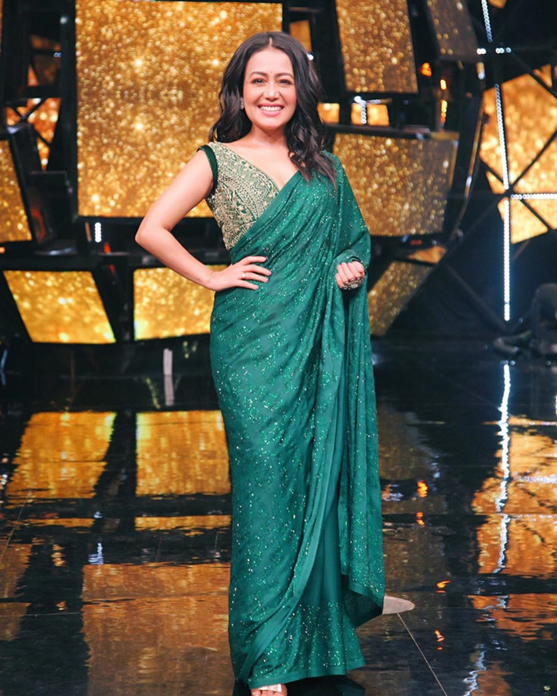 Neha Kakkar Sequence Bollywood Sarees with Designer  Blouse