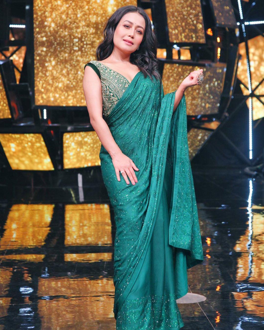 Neha Kakkar Sequence Bollywood Sarees with Designer  Blouse