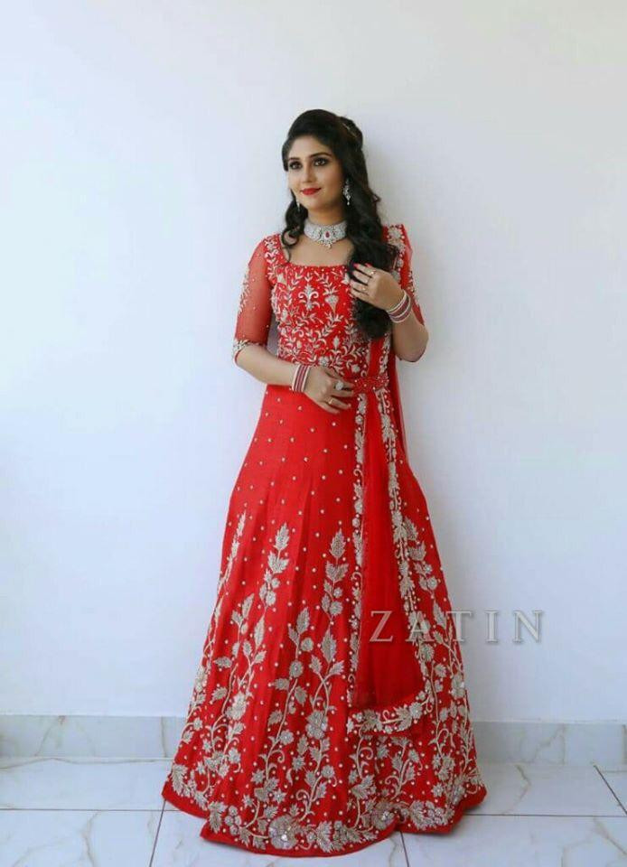 Designer Georgette Embroidery Red Lehenga Choli