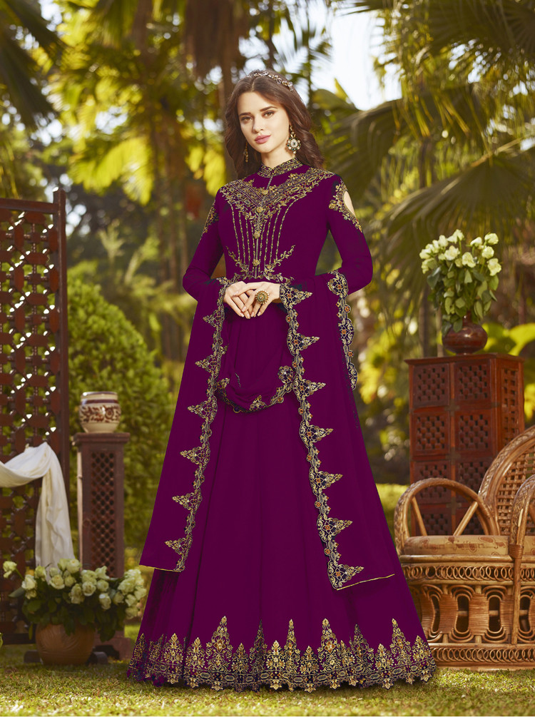 Precious Purple Color Heavy Embroidered Anarkali Suit