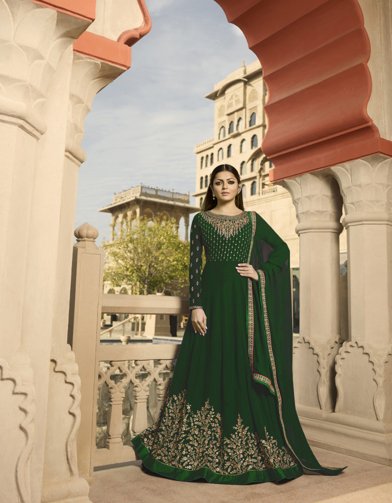 Drashti Dham iflattering Georgette Anarkali Suit with Heavy Embroidery