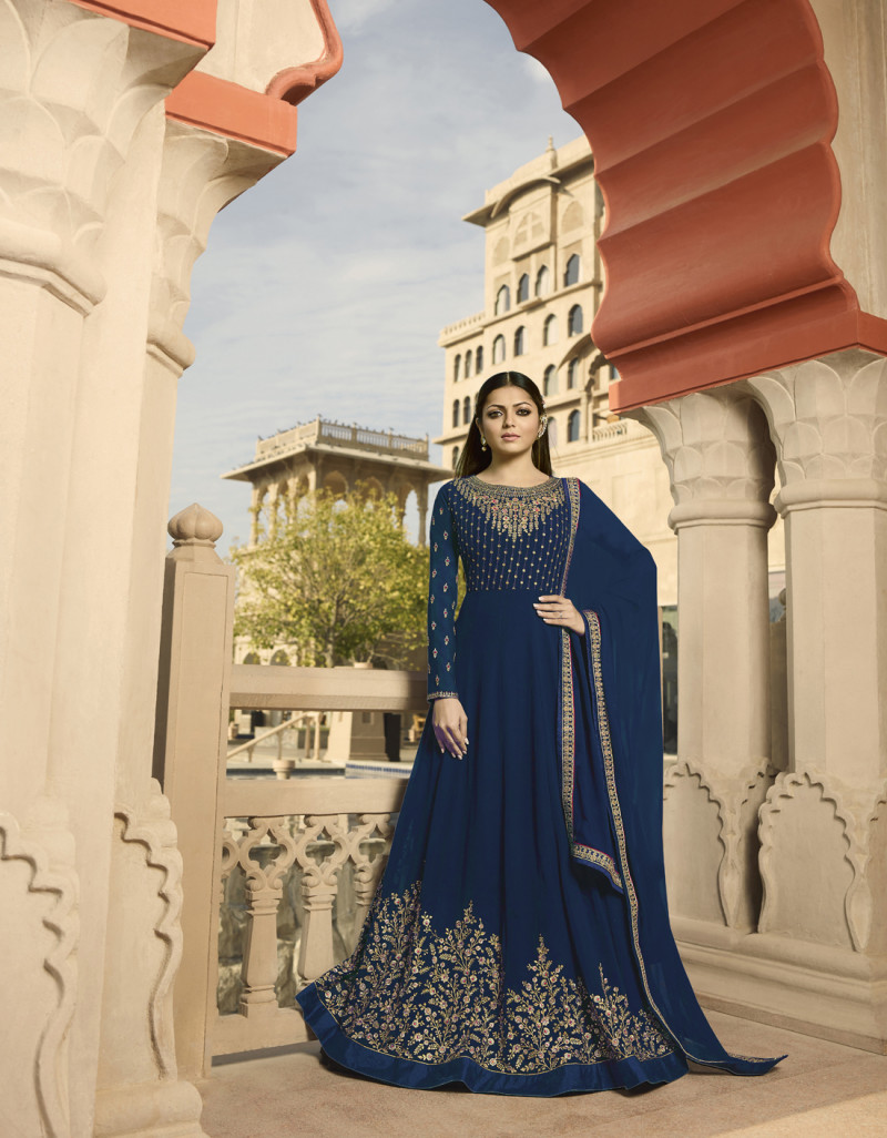 Marvellous Drashti Dhami Georgette Anarkali Suit With Heavy Embroidery