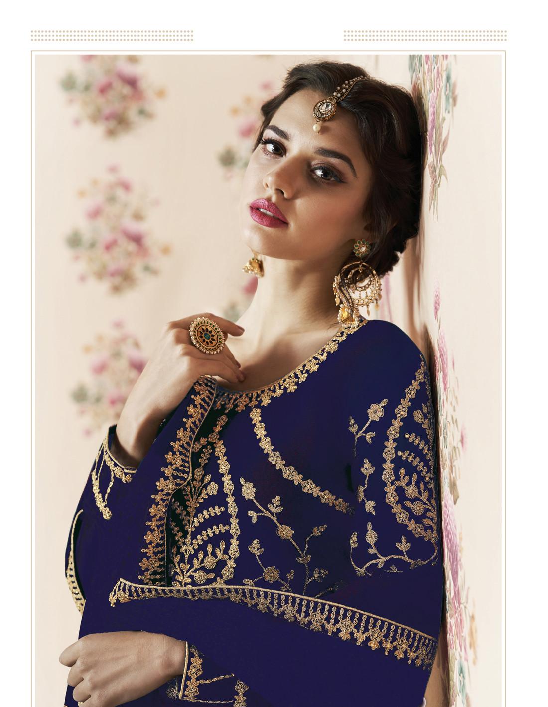 Breathtaking Navy Blue Stylist Anarkali suit