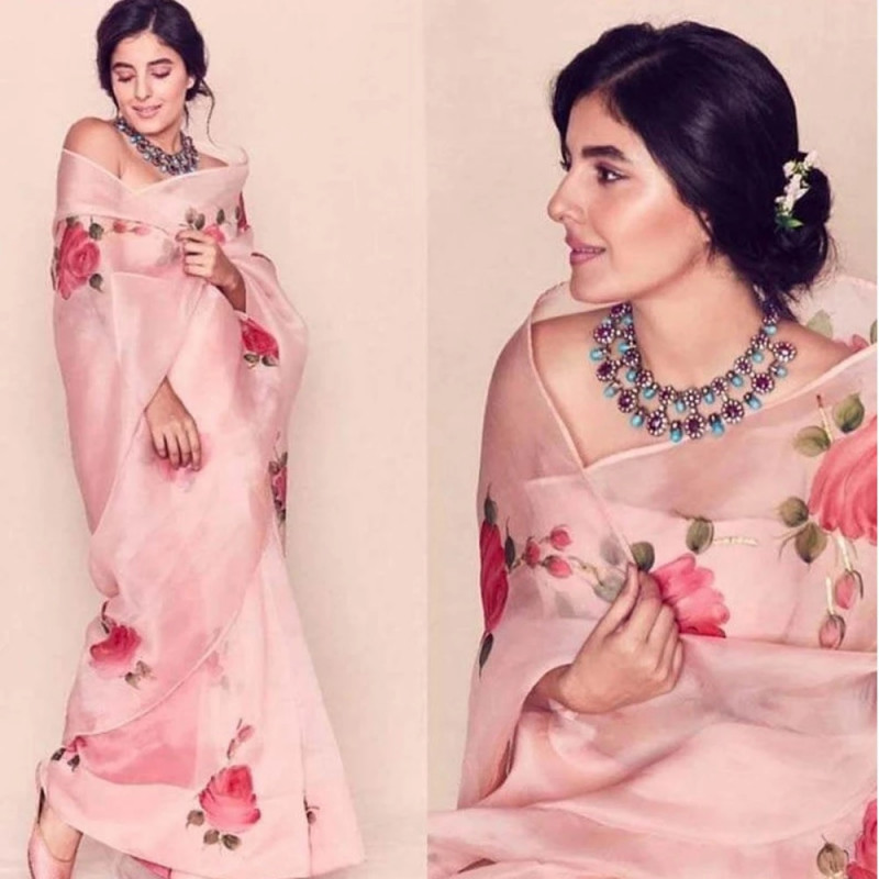 Organza Cream Peach Digital Floral Print Saree With Blouse