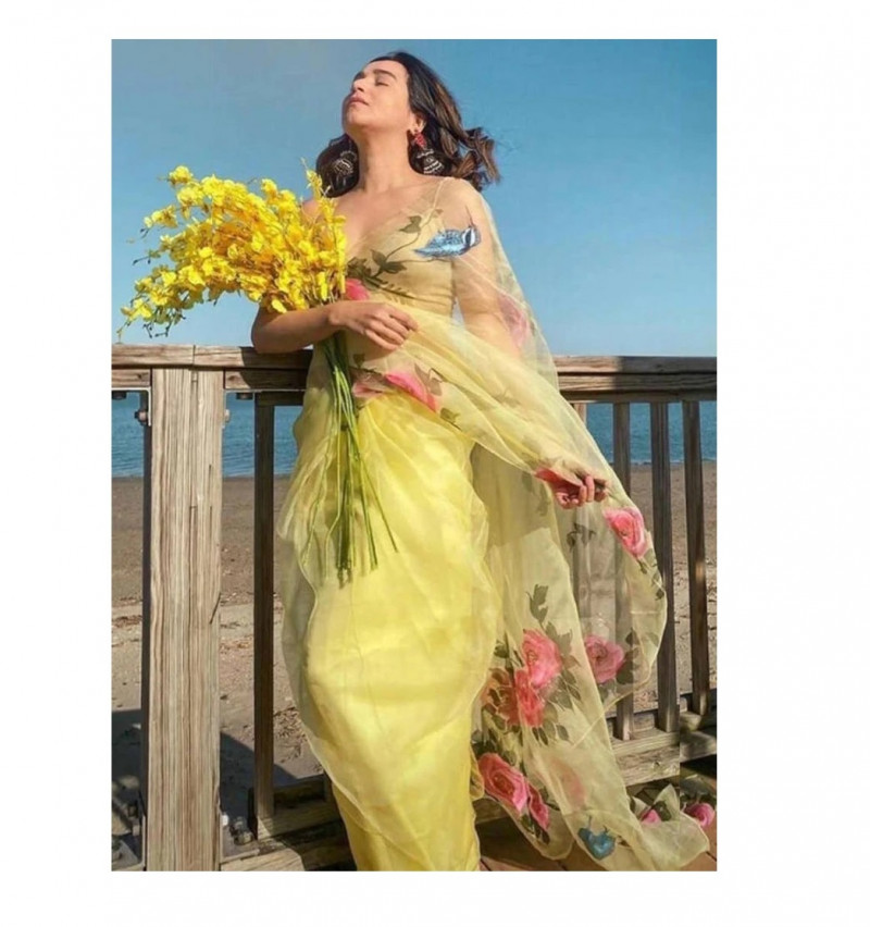 Organza Floral Yellow Bollywood Saree With Blouse