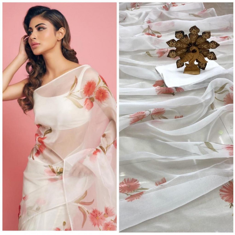 Mouni Roy Style Floral Printed White Bollywood Saree