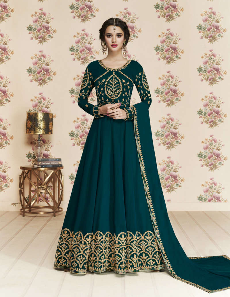 Prominent Turquoise Color Heavy Anarkali Suit