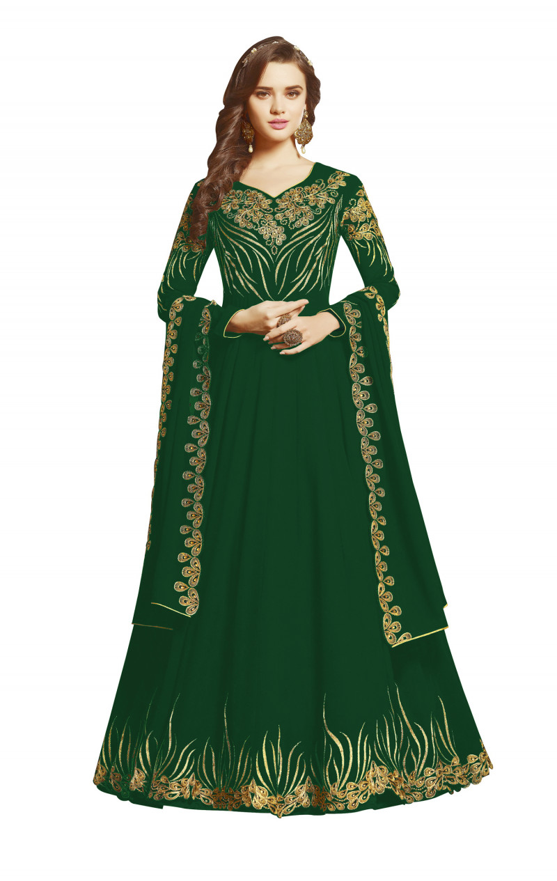 Hypnotic Georgette Dark Green Color Anarkali Suit With Heavy Embroidery