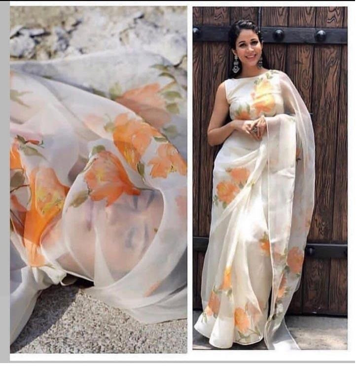 Organza Orange Flower Saree With Blouse