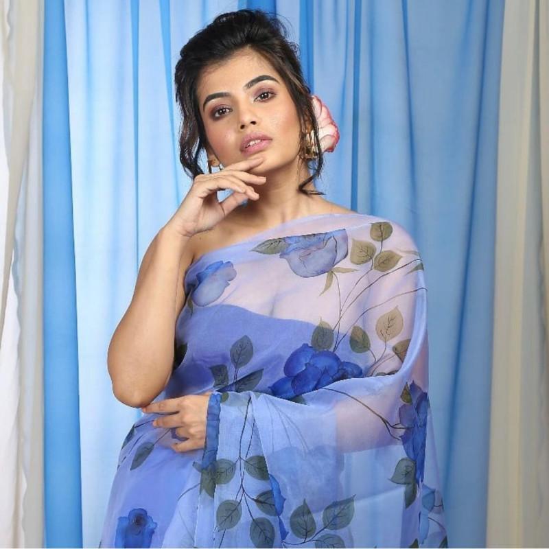 Digital Blue Pattel Saree With Blouse