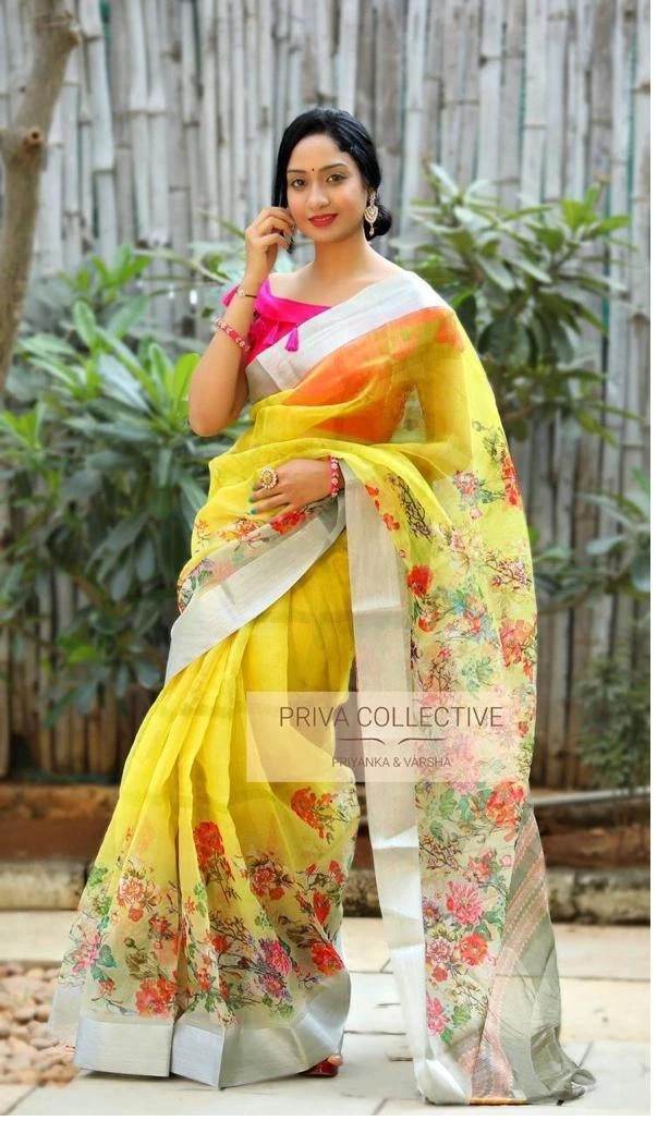 Digital Yellow Pattel Saree With Blouse