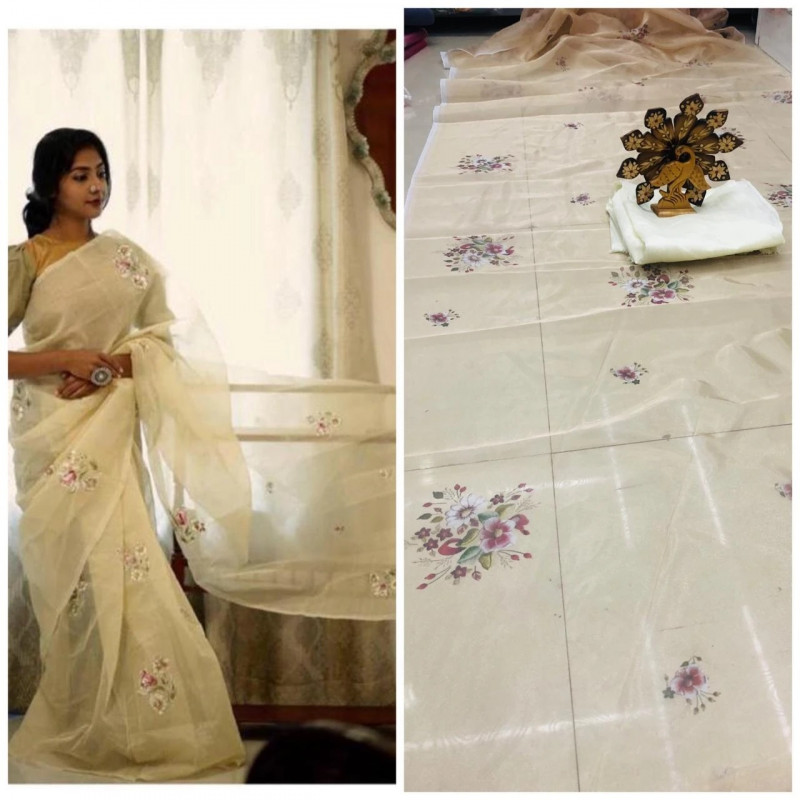 Pattel South Indian Style Orgenza Saree