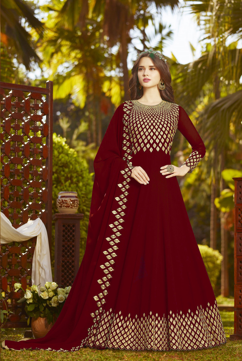 Entrancing Georgette Anarkali Suit with heavy Embroidery