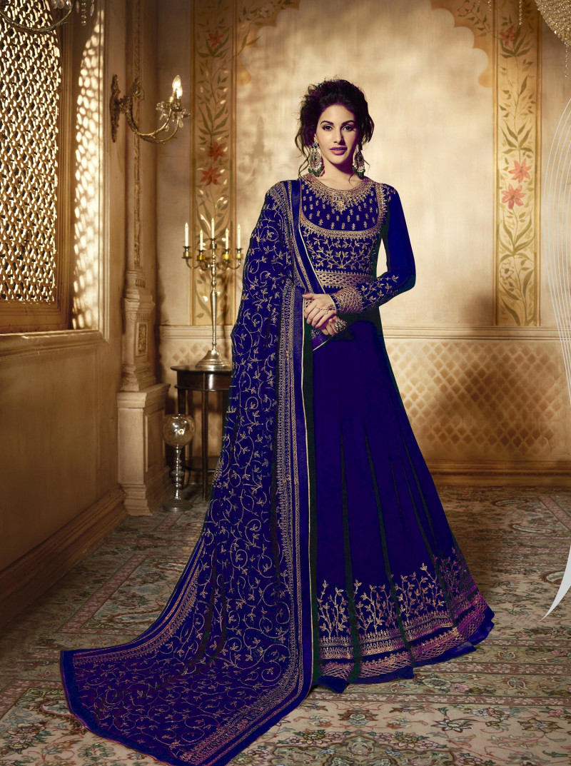 Women Georgette Anarkali Suit with heavy Embroidery