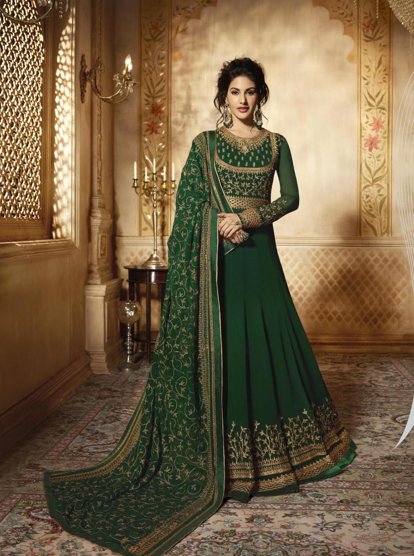 Extraordinary Dark Green Color Georgette Anarkali Suit