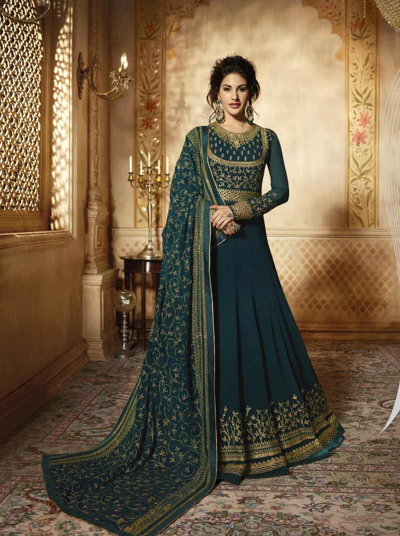 Glowing Georgette Turquoise Color Anarkali Suit