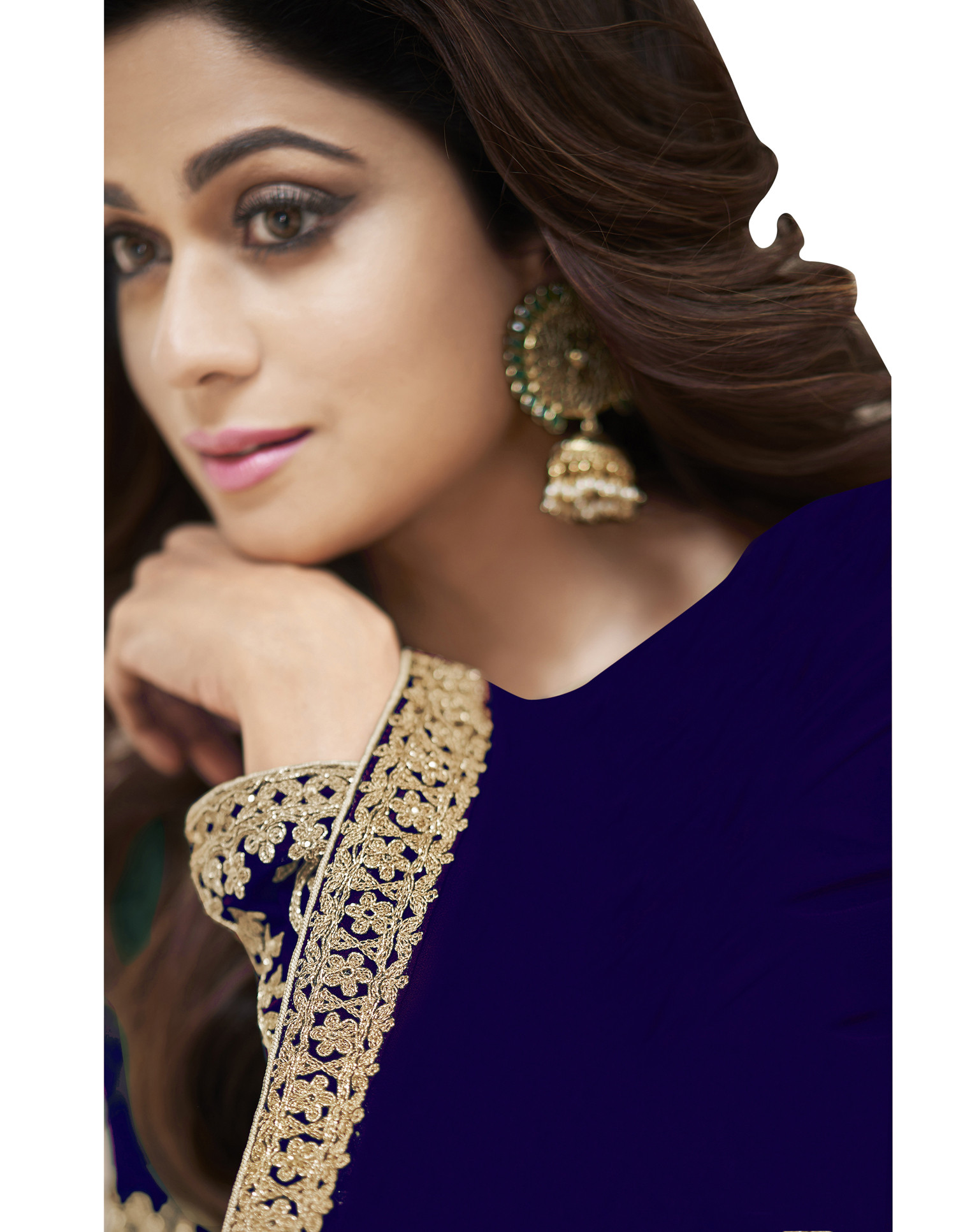 Fancy Georgette Navy Blue Color Anarkali Suit with heavy Embroidery