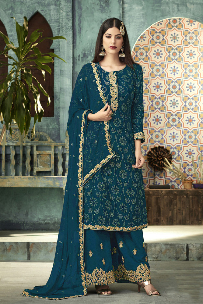 Charming Turquoise Georgette Anarkali Suit