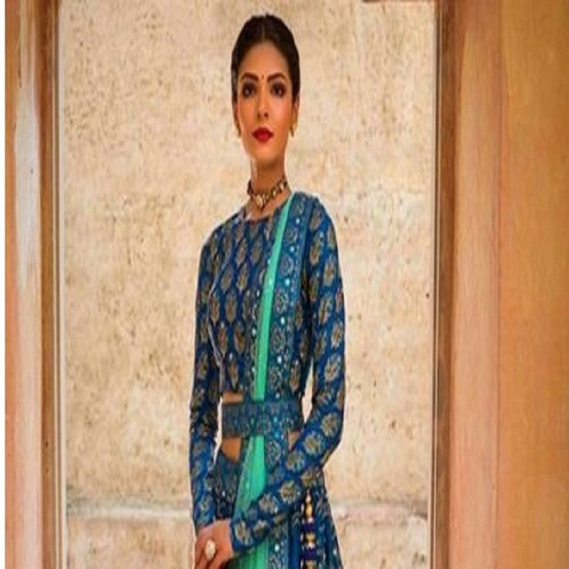 Indian New Blue Color Lehenga Choli